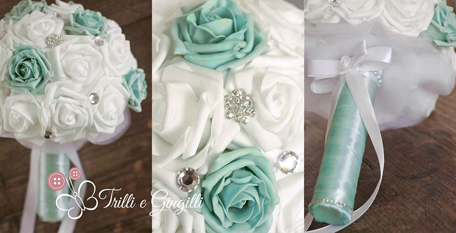 Bouquet gioiello con rose tiffany e bianche