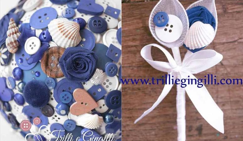 Bouquet a tema mare con bottoni blu e conchiglie