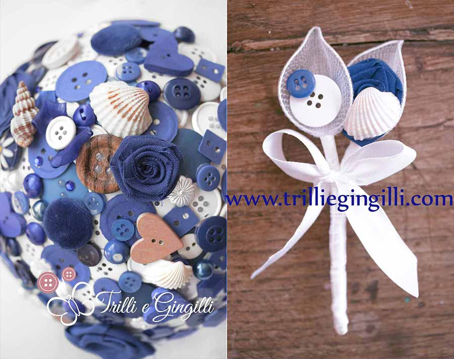 Bouquet e bottoniera a tema mare con bottoni blu e conchiglie