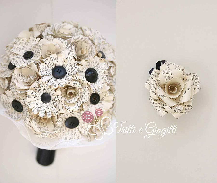 bouquet di carta e bottoni
