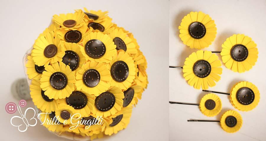 bouquet carta girasoli bottoni