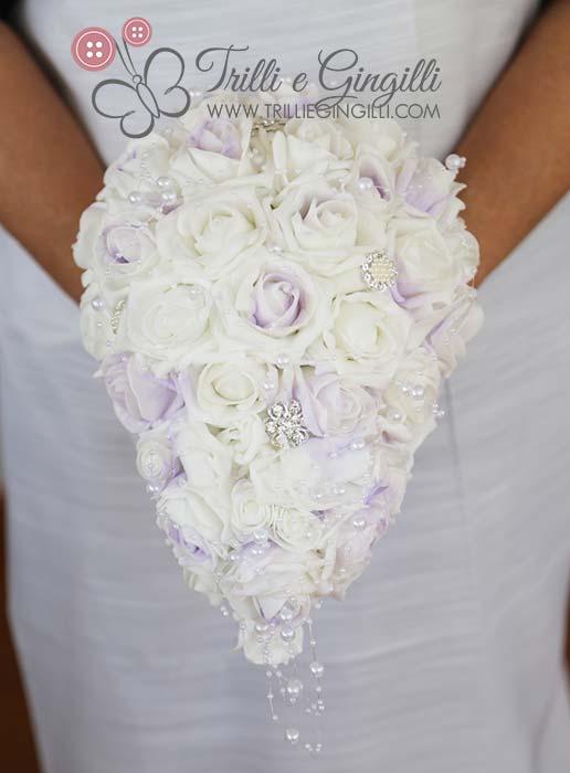 bouquet cascata gioiello bianco