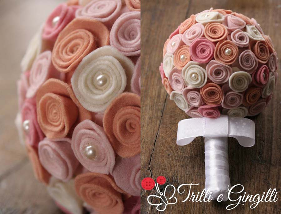 Bouquet di feltro rosa e arancio