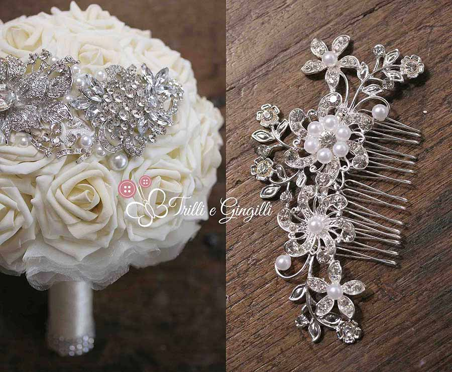 Bouquet gioiello bianco coordinato con accessorio capelli