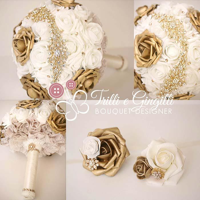 bouquet gioiello bianco oro