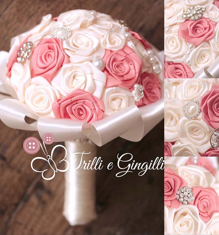 Bouquet gioiello con rose di raso bianche e corallo