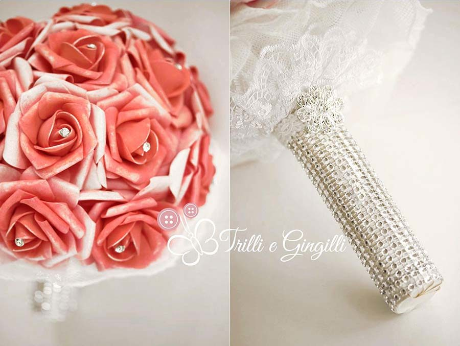 bouquet gioiello rose rosse strass