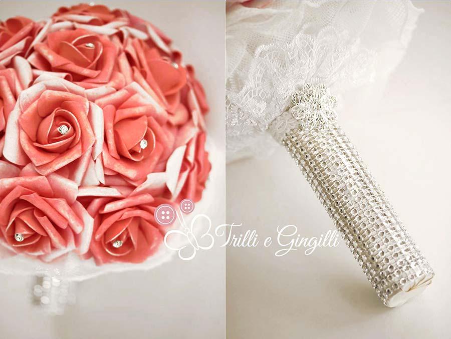 bouquet gioiello rose rosse strass