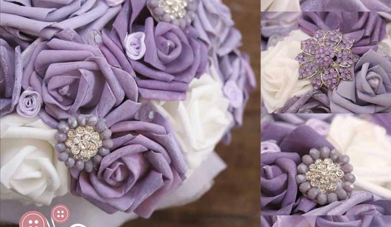 5 bellissimi bouquet da sposa viola e bianco