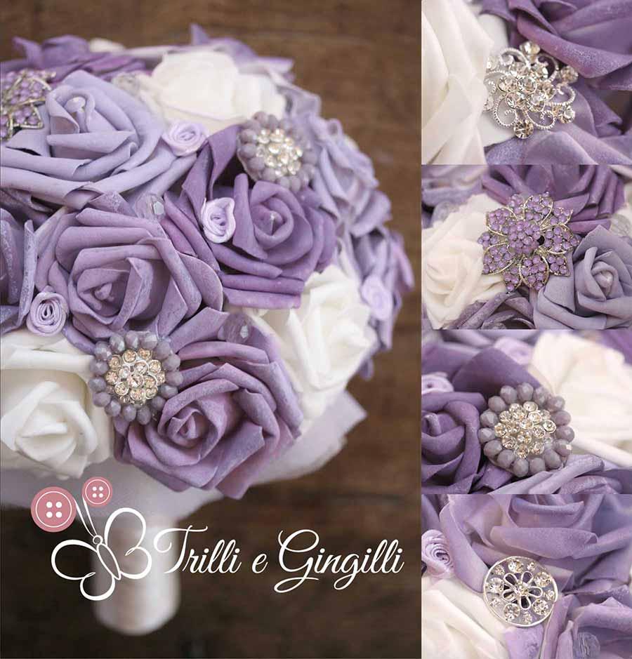 Bouquet gioiello viola con rose