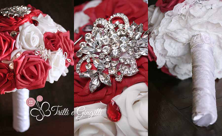 Matrimonio In Bianco E Rosso : Bouquet gioiello con rose rosse e bianche trilli gingilli