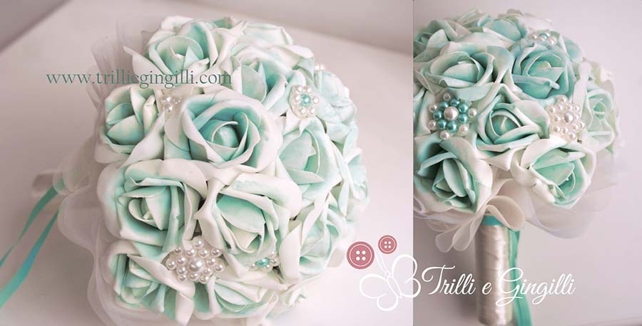 Bouquet gioiello color tiffany