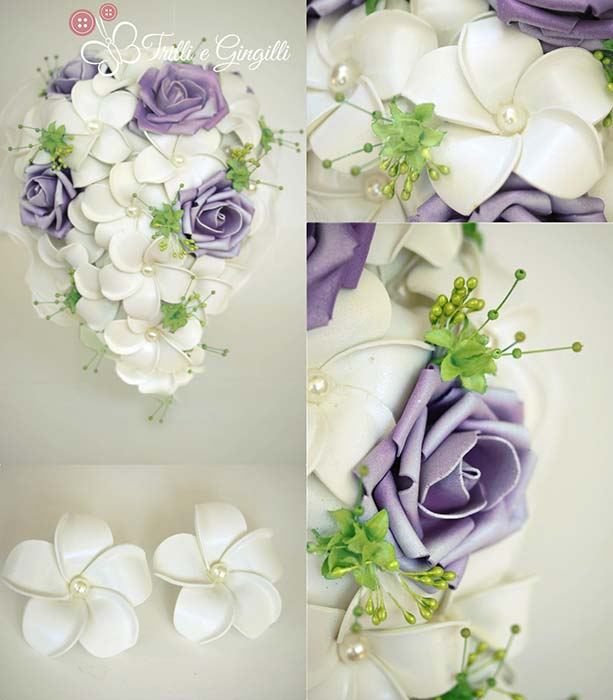 bouquet glicine sposa a cascata con rose e frangipani