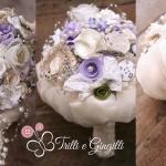 Bouquet lavanda con cascata di perle