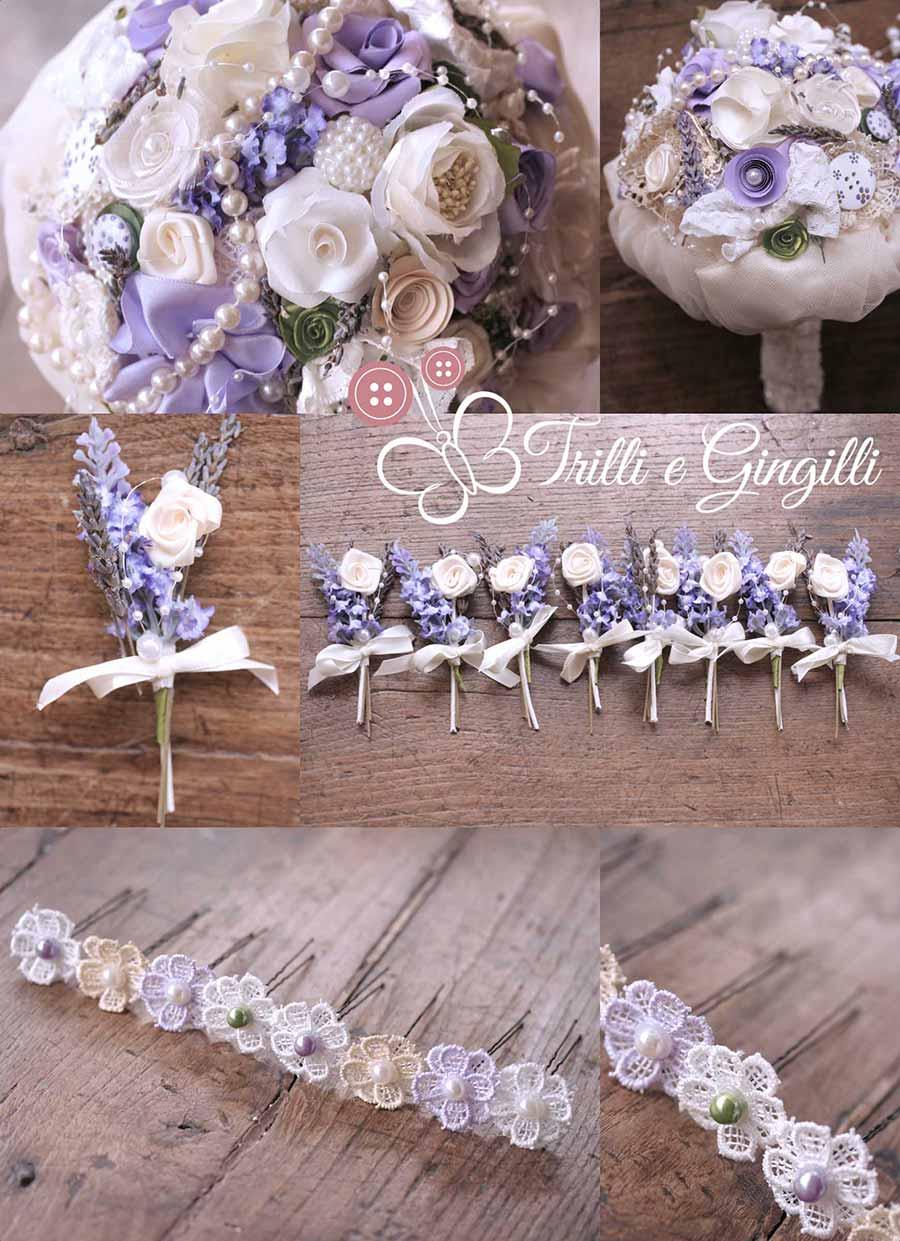 Bouquet lavanda con perle e accessori coordinati