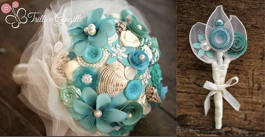 Matrimonio Tema Azzurro : Bouquet per matrimoni a tema trilli e gingilli