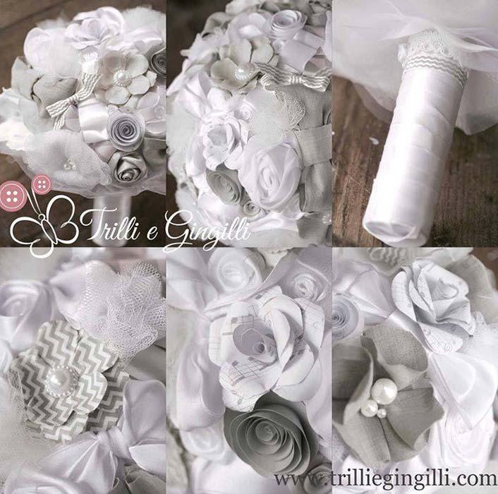 Bouquet misto grigio e bianco
