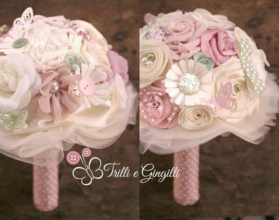 Bouquet misto rosa, verde e avorio