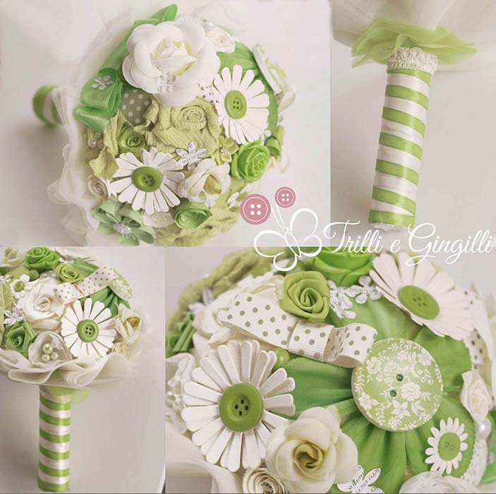 Bouquet misto verde mela e bianco