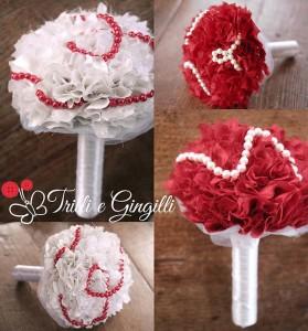 Bouquet pon pon rosso e bianco