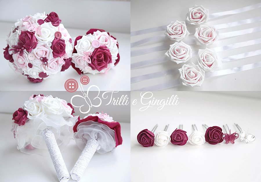 bouquet sposa bordeaux rosa