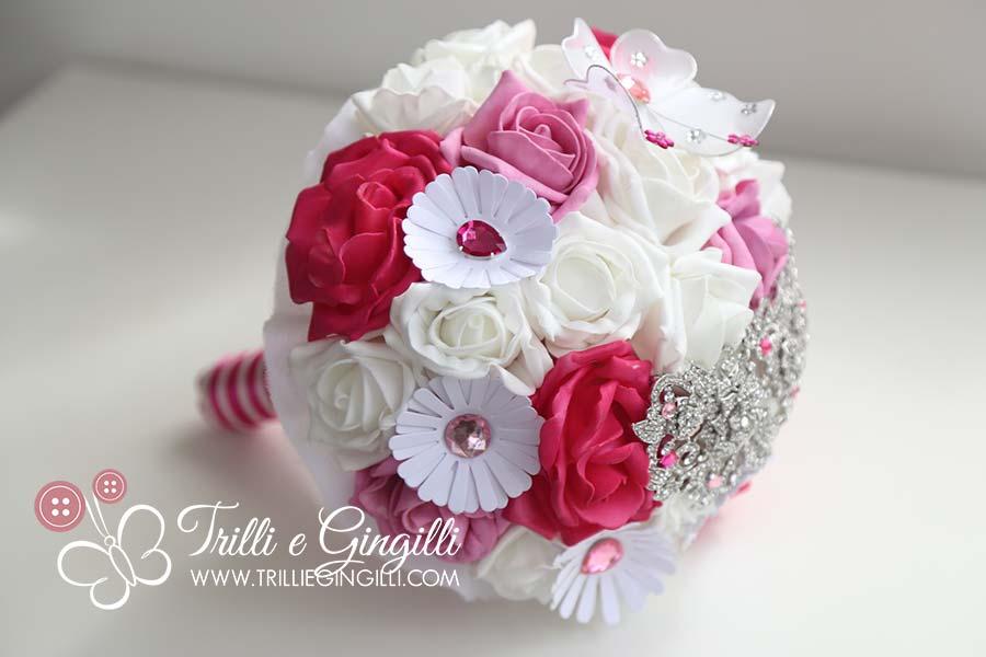 bouquet sposa gioiello rosa e bianco