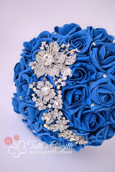 bouquet sposa gioiello blu