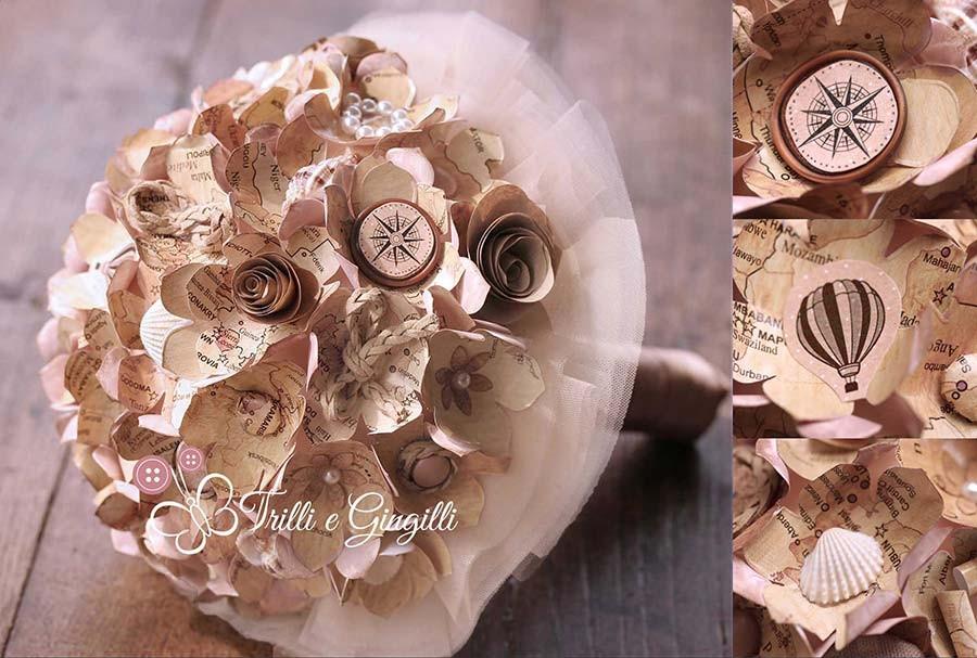 Matrimonio Tema Viaggio : Bouquet per matrimoni a tema trilli e gingilli