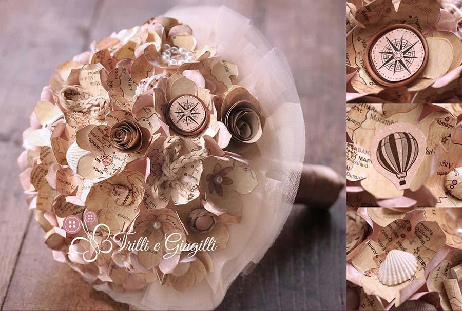 Bouquet con cartine vintage per matrimonio a tema viaggio