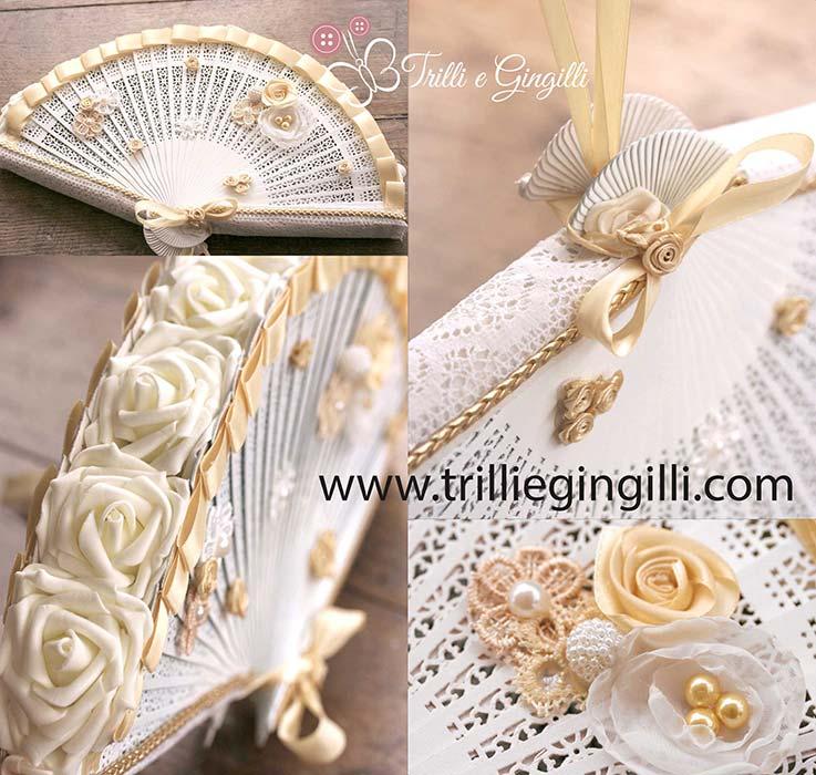 Bouquet a ventaglio bianco e oro