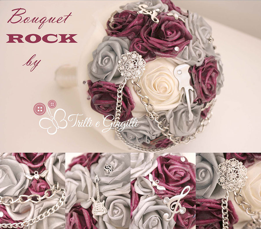 Bouquet gioiello a tema musica rock con rose