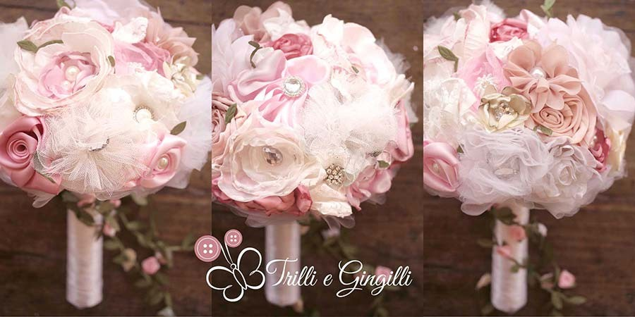 Bouquet boho chic di stoffa e pon pon rosa e bianco