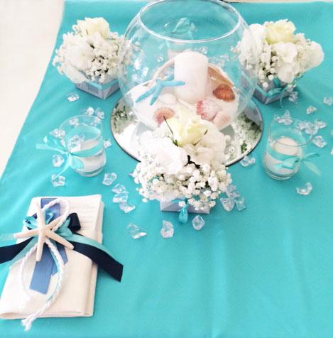 Decorazioni tavolo per matrimonio a tema mare