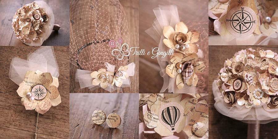 Accessori coordinati per bouquet a tema viaggio vintage