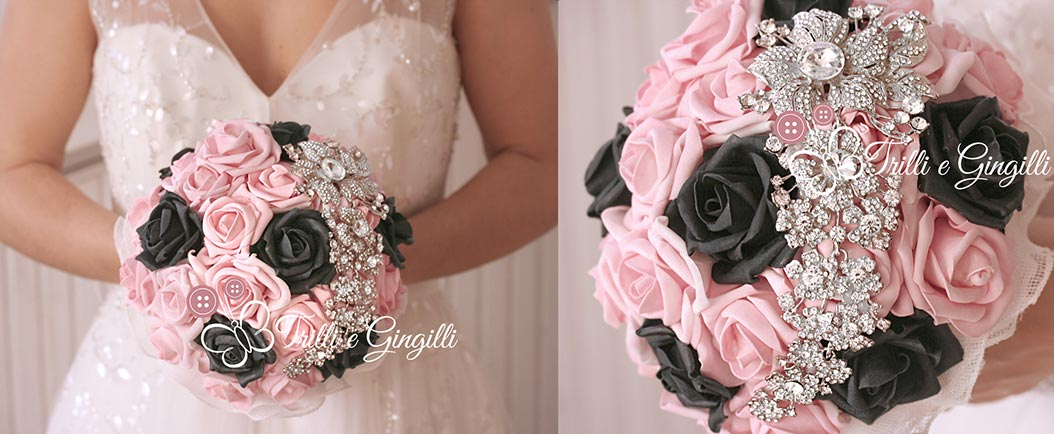 bouquet matrimonio rosa e nero