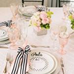 Matrimonio a tema rosa e nero tavola e centrotavola