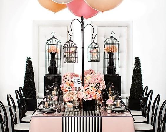 Tante idee chic per un matrimonio a tema rosa e nero!