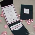 Partecipazioni classiche per matrimonio a tema rosa e nero