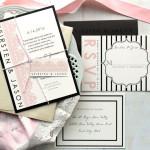 Partecipazioni moderne per matrimonio a tema rosa e nero