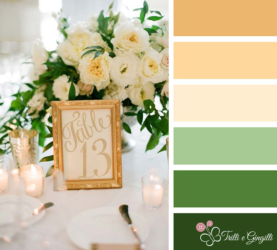 Palette per matrimonio verde e oro
