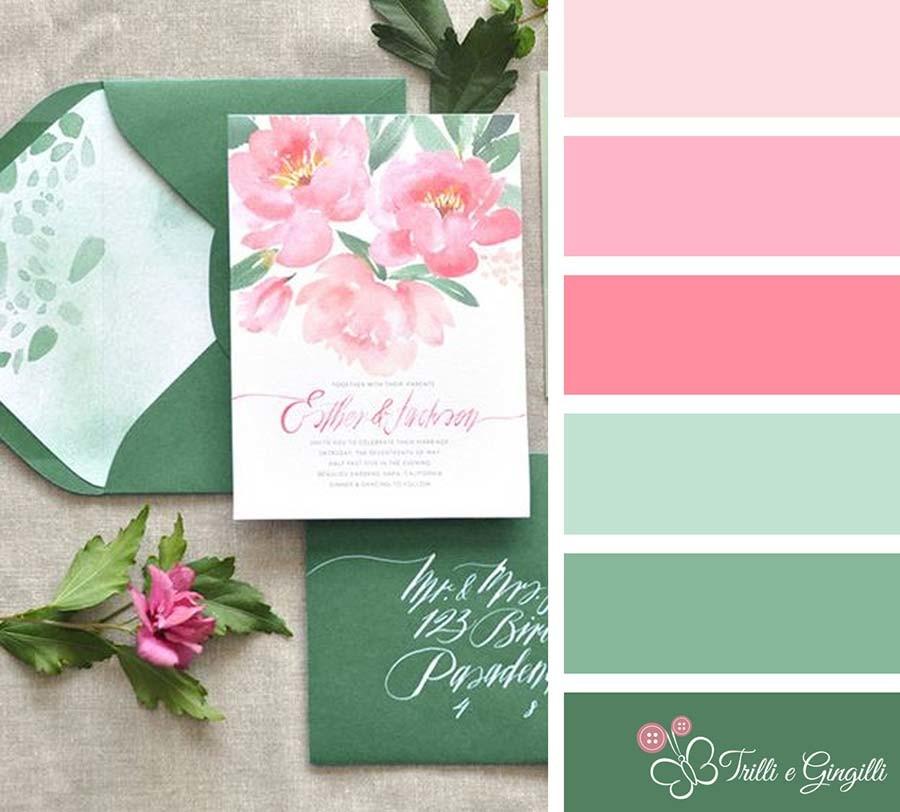 Palette per matrimonio verde e rosa
