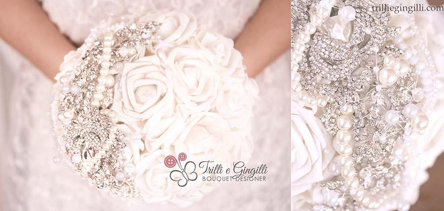 Bouquet di rose bianche gioiello