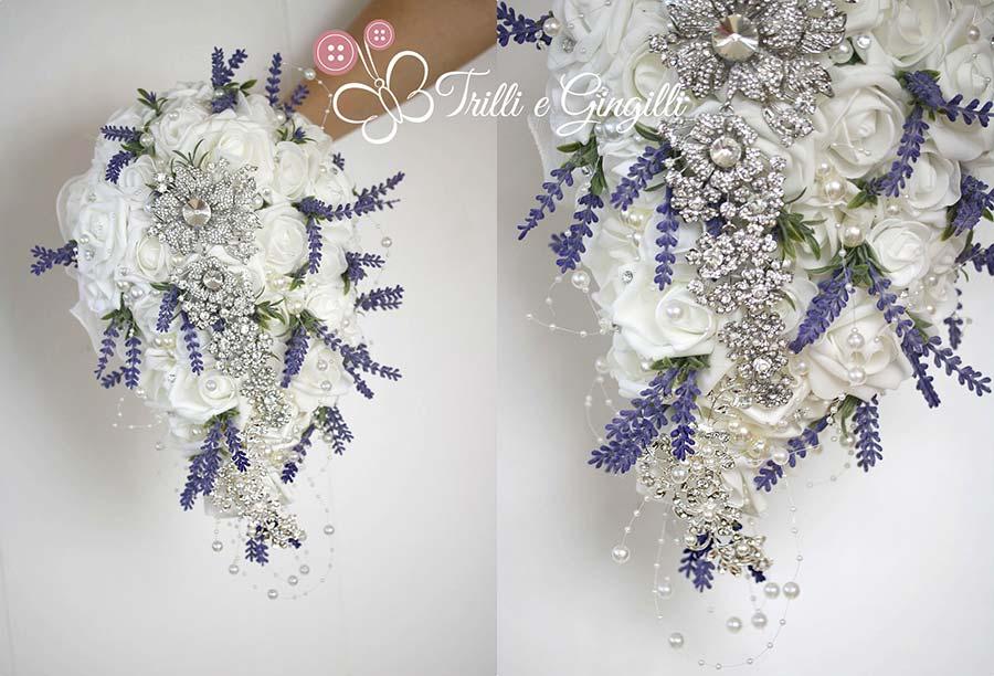 bouquet sposa originali a cascata con lavanda