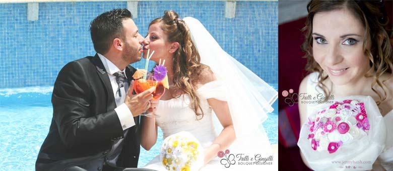 Bouquet sposa Roma con bottoni