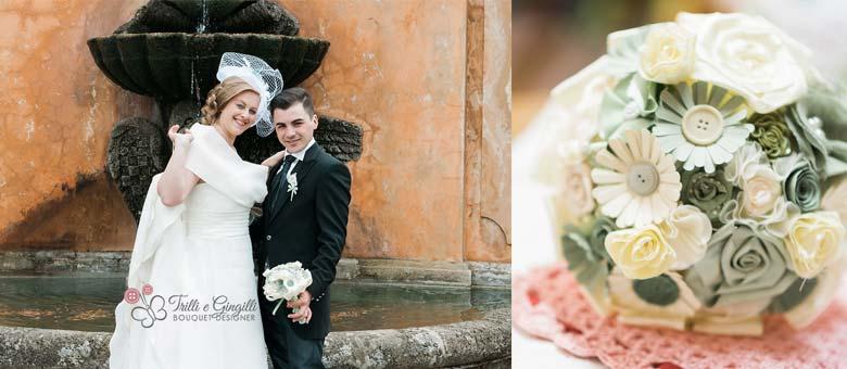 Bouquet sposa Roma verde originale