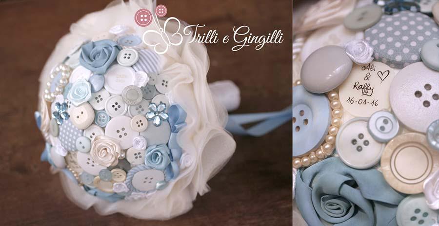 Bouquet di bottoni serenity e bianco
