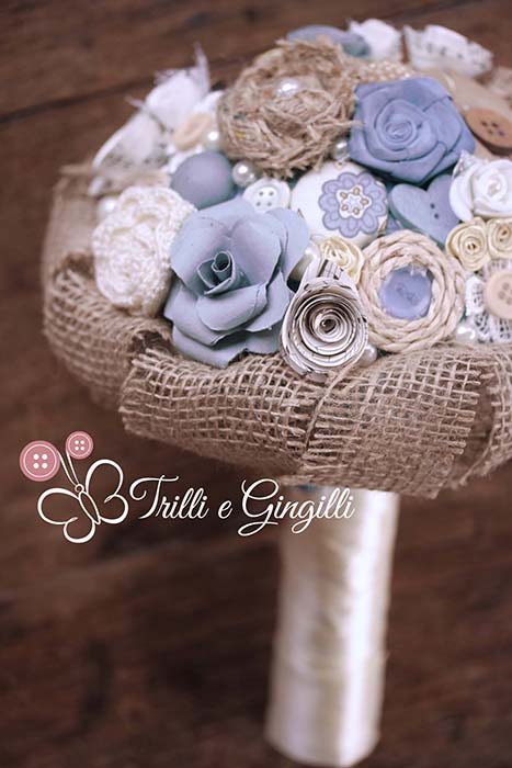 Bouquet sposa serenity e beige in stile country