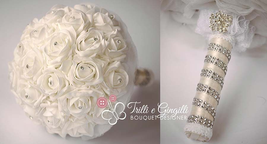 bouquet rose bianche strass