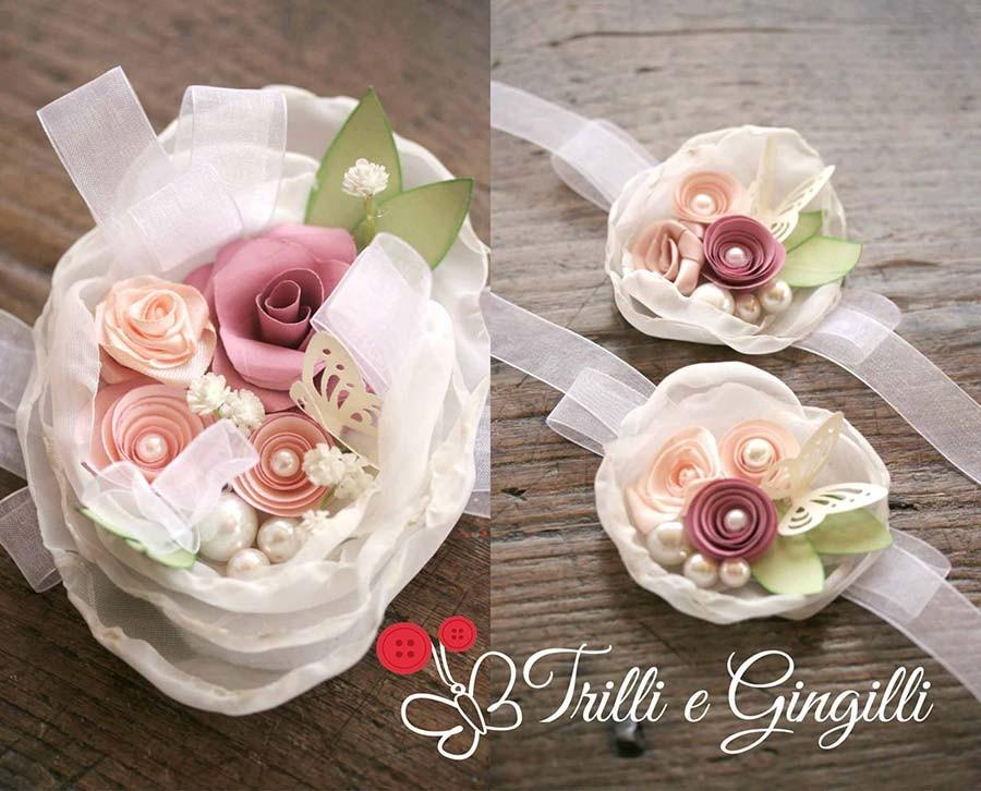 Bouquet sposa a bracciale polso corsage