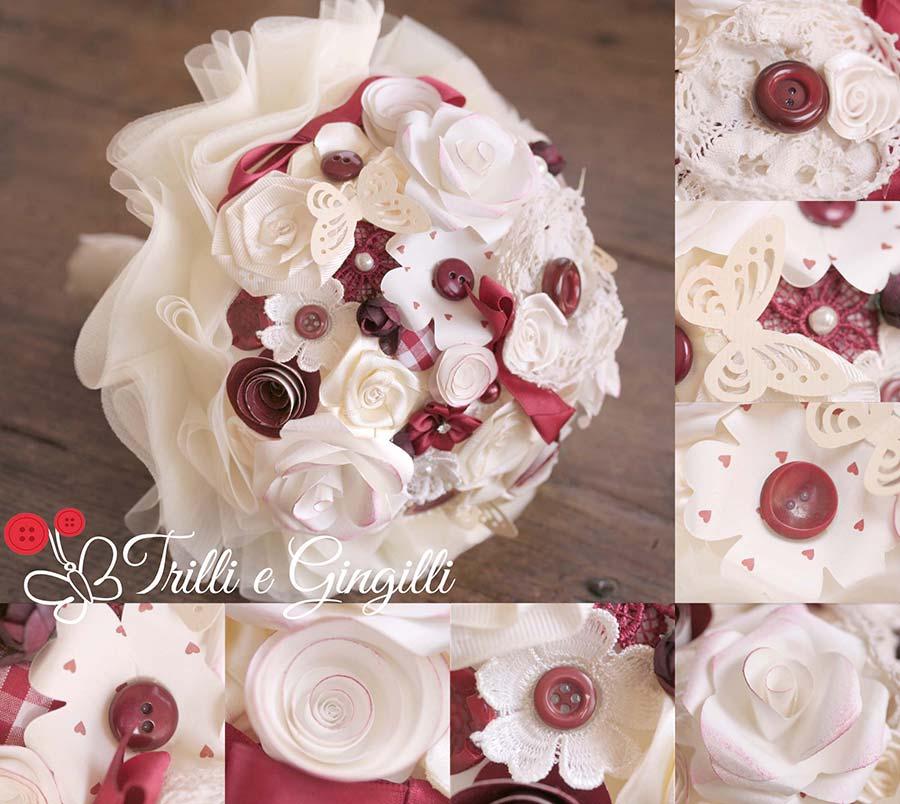 Bouquet sposa settembre bianco bordeaux e marsala